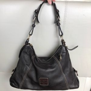 Dark brown pebble leather Dooney & Bourke purse